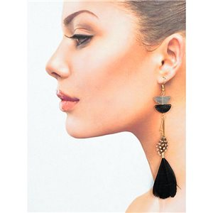 1p Drop earrings with hook 14cm gold metal New Feathers Collection 78403