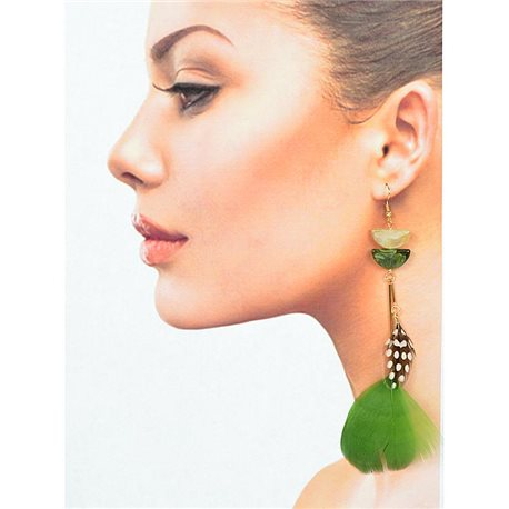 1p Drop earrings with hooks 14cm gold metal New Feathers Collection 78407