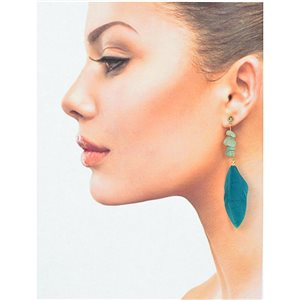 1p Drop Earrings with studs 9cm gold metal New Feathers Collection 78390