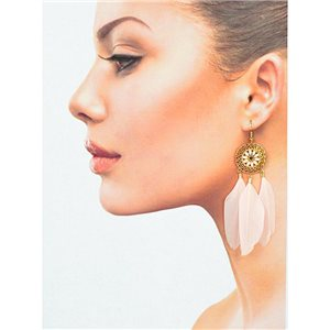 1p Drop earrings with hook 9cm gold metal New Feathers Collection 78413