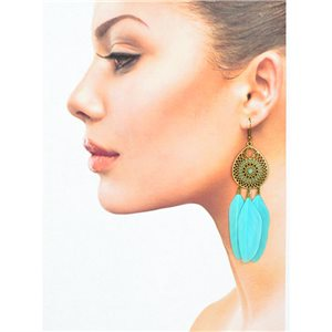 1p Drop earrings with hooks 11cm aged metal New Feathers Collection 78430
