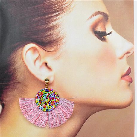 1p Stud Earrings Stainless Steel Seed Beads on Pompon 77726