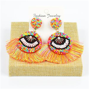 1p Earrings with Pompom Stud and Seed Beads Hand-sewn 77791