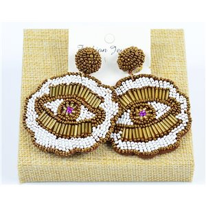 1p Stud Earrings Seed Beads Hand sewn 77731