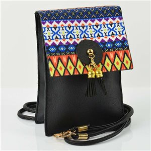 Women's leather-look pouch New Collection Ethnic Fabrics 12 * 17cm 78501