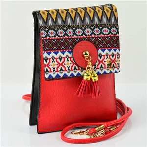 Women's leather-look pouch New Collection Ethnic Fabrics 12 * 17cm 78502