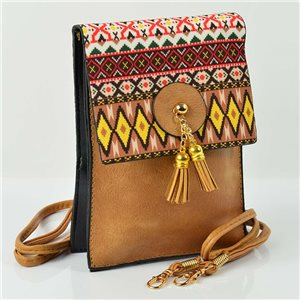 Women's leather-look pouch New Collection Ethnic Fabrics 12 * 17cm 78505