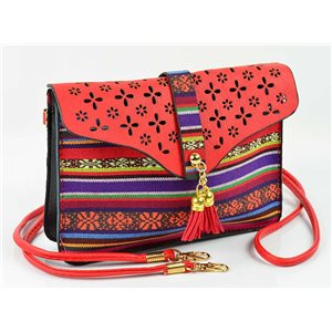 Women's leather-look pouch New Collection Ethnic Fabrics 18 * 14cm 78487