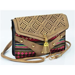 Women's leather-look pouch New Collection Ethnic Fabrics 18 * 14cm 78492