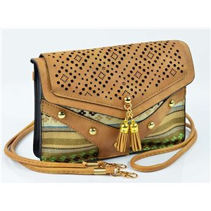 Women's leather-look pouch New Collection Ethnic Fabrics 18 * 14cm 78493