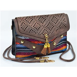 Women's leather-look pouch New Collection Ethnic Fabrics 18 * 14cm 78494