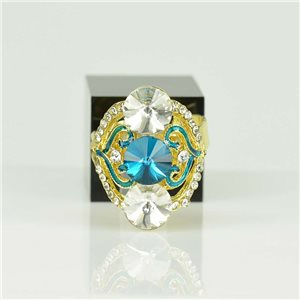 Adjustable Strass Ring Gold Full Strass New Collection 78530