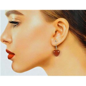 1p Silver Metal Hook Earrings in Sun Stone 78634