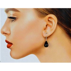 1p Obsidian Stone Silvery Metal Hook Earrings 78588