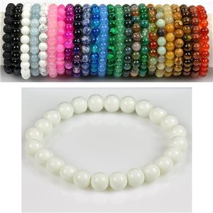 8mm Pearl Bracelet in White Agate Stone on elastic thread 78660