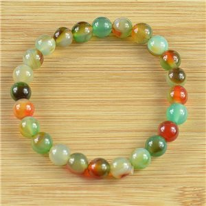 8mm Pearl Bracelet in Laguna Agate Stone on elastic thread 78675