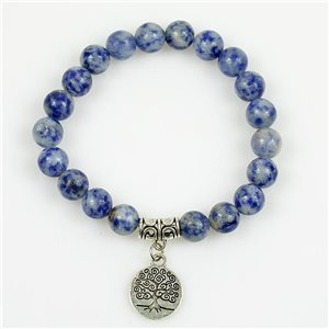 Lucky Tree of Life Bracelet 8mm Beads in Lilac Agate Stone on elastic thread 78686
