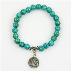 Lucky Tree of Life Bracelet 8mm Pearls in Turquoise Howlite Stone on elastic thread 78687