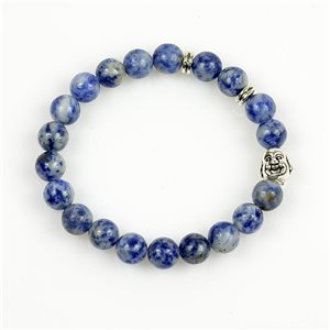 Lucky Buddha Bracelet 8mm Beads in Lilac Agate Stone on elastic thread 78710