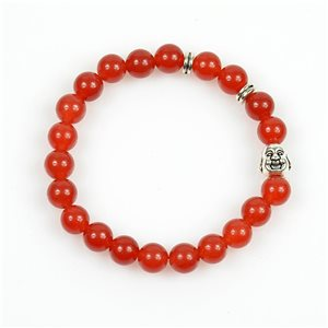 Lucky Buddha Bracelet 8mm Beads in Carnelian Stone on elastic thread 78716