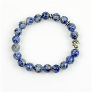 Lucky Buddha Bracelet 8mm Beads in Lilac Agate Stone on elastic thread 78722