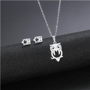 Stainless Steel Set on 44cm stainless steel chain - SILVER Steel Collection 78898