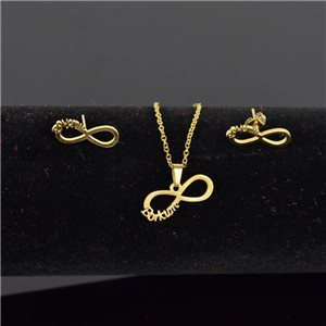 Stainless Steel Set on 44cm stainless steel chain - GOLD Steel Collection 78744