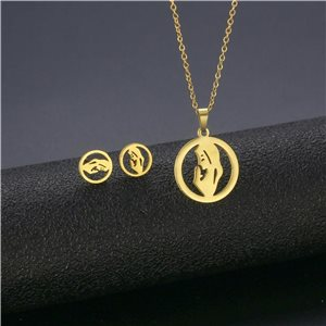 Stainless Steel Set on 44cm stainless steel chain - GOLD Steel Collection 78745