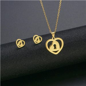 Stainless Steel Set on 44cm stainless steel chain - GOLD Steel Collection 78750