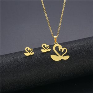 Stainless Steel Set on 44cm stainless steel chain - GOLD Steel Collection 78756