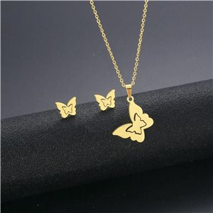 Stainless Steel Set on 44cm stainless steel chain - GOLD Steel Collection 78758