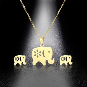 Stainless Steel Set on 44cm stainless steel chain - GOLD Steel Collection 78759