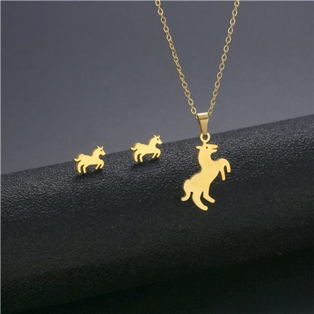 Stainless steel set on 44cm stainless steel chain - GOLD Steel Collection 78760
