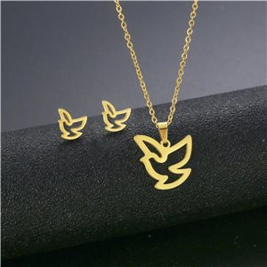 Stainless Steel Set on 44cm stainless steel chain - GOLD Steel Collection 78761