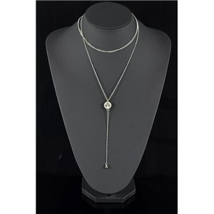 Silver Plated Triple Row Long Necklace New Collection 78574