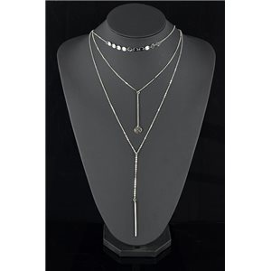 Silver Plated Triple Row Long Necklace New Collection 78576