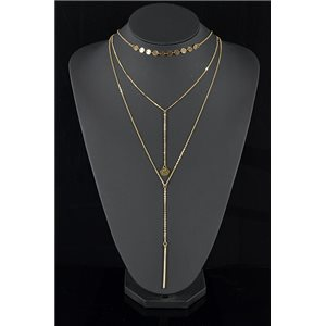 Gold Metal Triple Row Long Necklace New Collection 78577