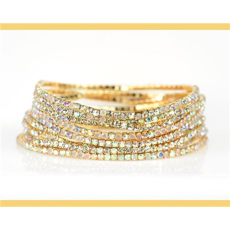 Lot of 10 - Stretch bracelet set with sparkling rhinestones on mesh Gold 78978