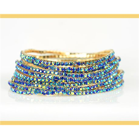 Lot of 10 - Stretch bracelet set with sparkling rhinestones on mesh Gold 78995
