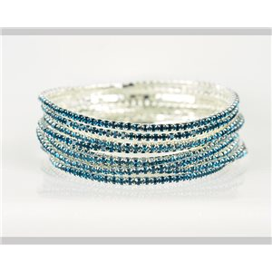 Lot of 10 - Stretch bracelet set with sparkling rhinestones on silver mesh 78927