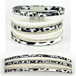 Strass bracelet Multirow cuff effect magnetic clasp New Collection 79009