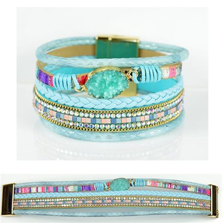 Strass bracelet Multirow cuff effect magnetic clasp New Collection 79016