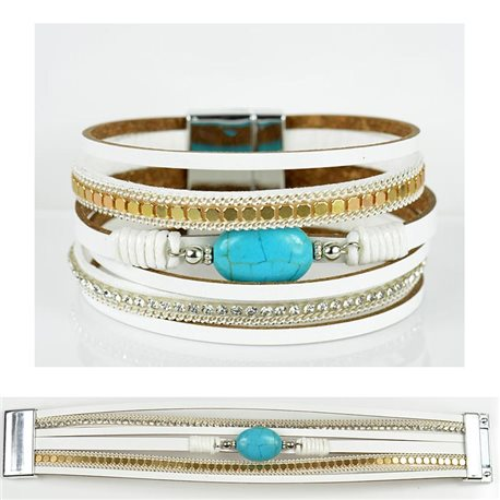 Strass bracelet Multirow cuff effect magnetic clasp New Collection 79022