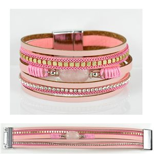 Strass bracelet Multirow cuff effect magnetic clasp New Collection 79023