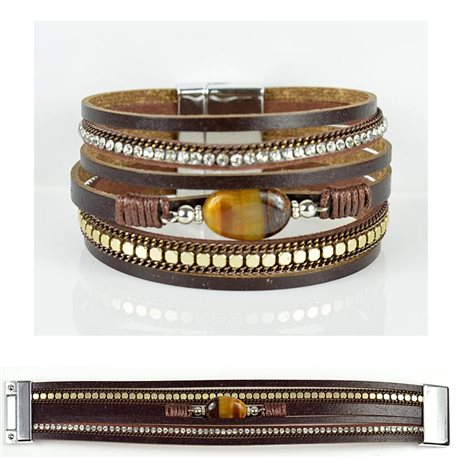 Strass bracelet Multirow cuff effect magnetic clasp New Collection 79024