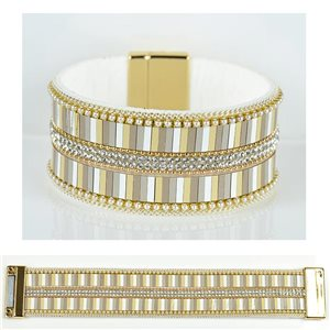Strass bracelet Multirow cuff effect magnetic clasp New Collection 79026