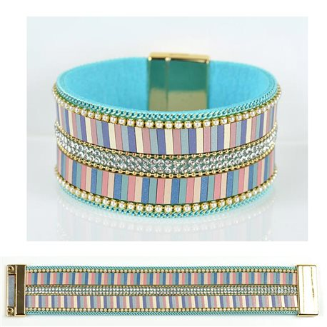 Strass bracelet Multirow cuff effect magnetic clasp New Collection 79027