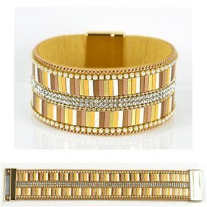 Strass bracelet Multirow cuff effect magnetic clasp New Collection 79028