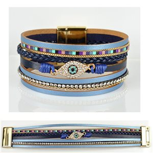 Strass bracelet Multirow cuff effect magnetic clasp New Collection 79035