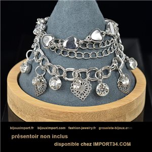 Pretty multirang charms bracelet set with high-gloss rhinestones in silver metal 79063